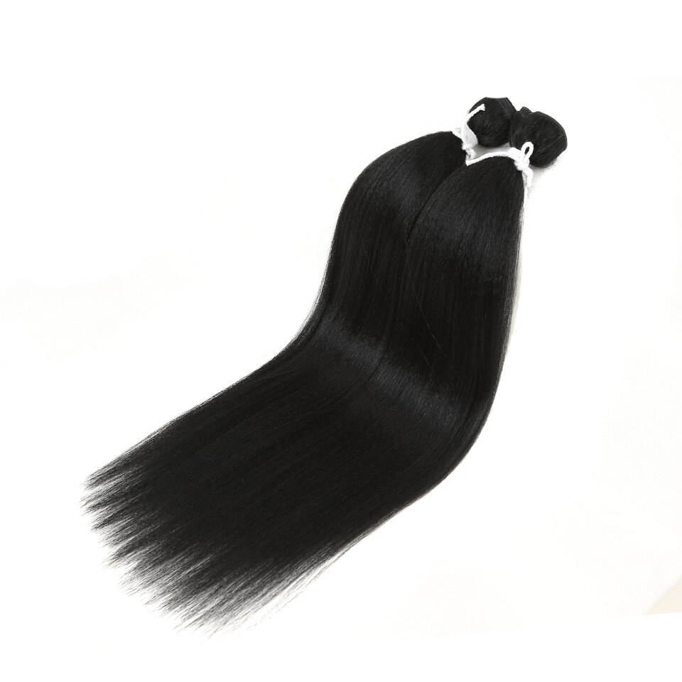 Natural Color Straight Synthetic Hair Extensions 2 pcs Set