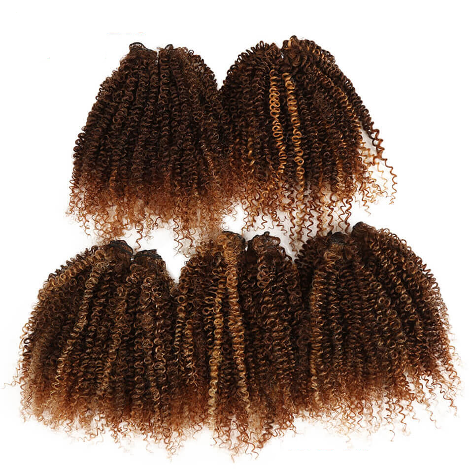 Short Kinky Curly Synthetic Hair Extensions 5 pcs Set