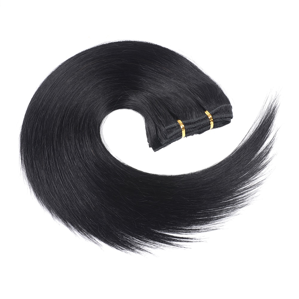 Black Straight Clip-in Remy Human Hair Extensions Set