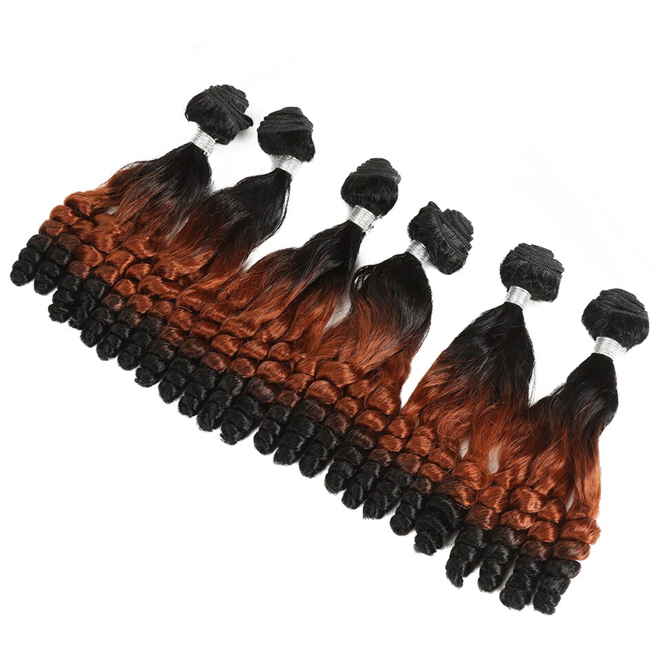 Red Ombre Kinky Curly Synthetic Hair Extensions 7 pcs Set