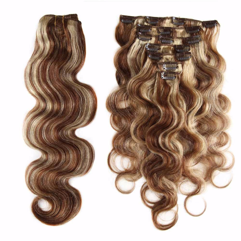 Highlights Body Wave Clip-In Remy Human Hair Extensions Set