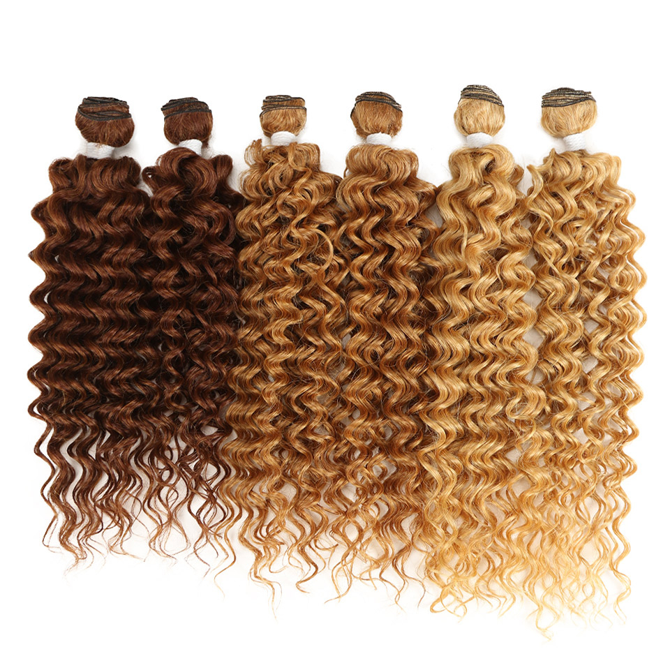 Blonde Curly Synthetic Hair Extensions 6 pcs Set