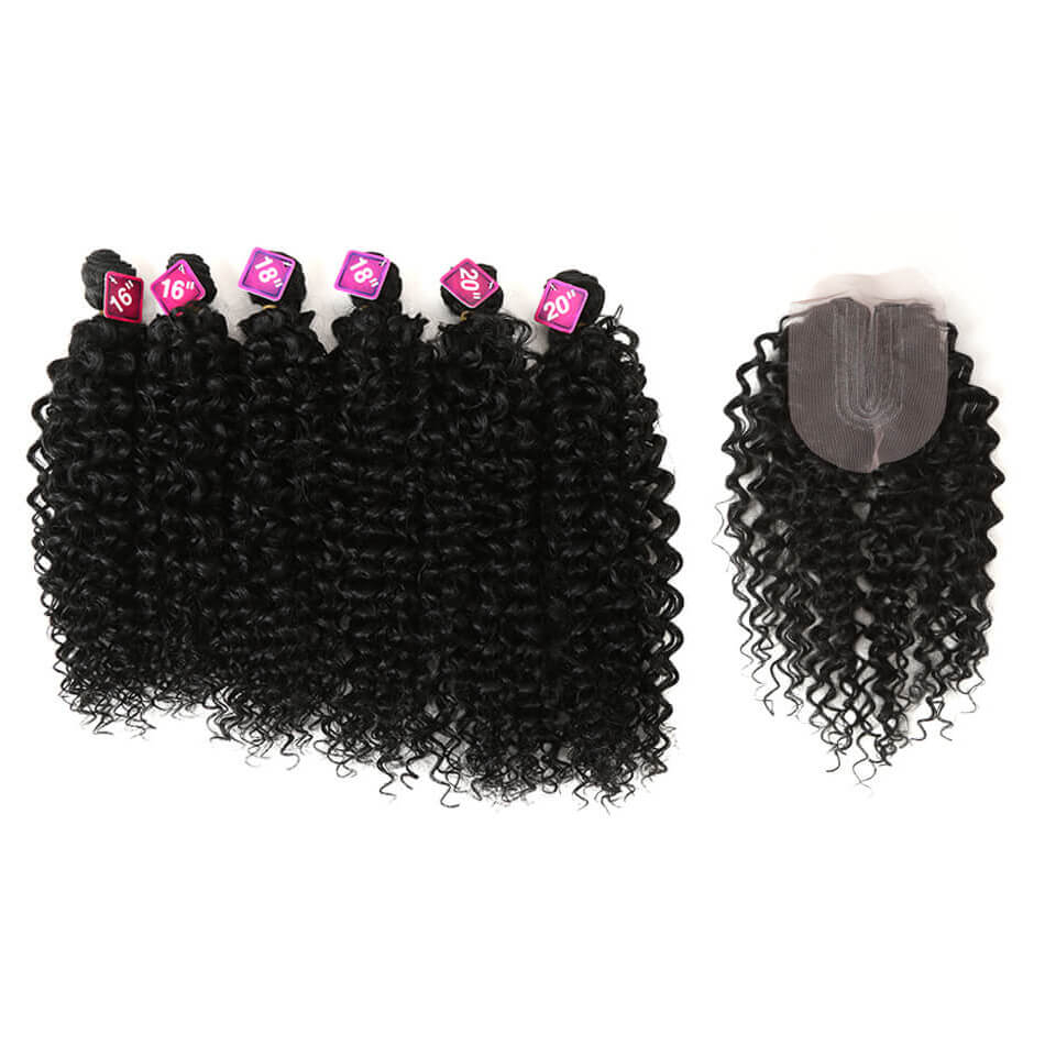 Long Kinky Curly Synthetic Hair Extensions 7 pcs Set
