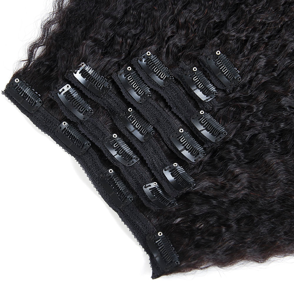Black Kinky Straight Clip-In Remy Human Hair Extensions Set
