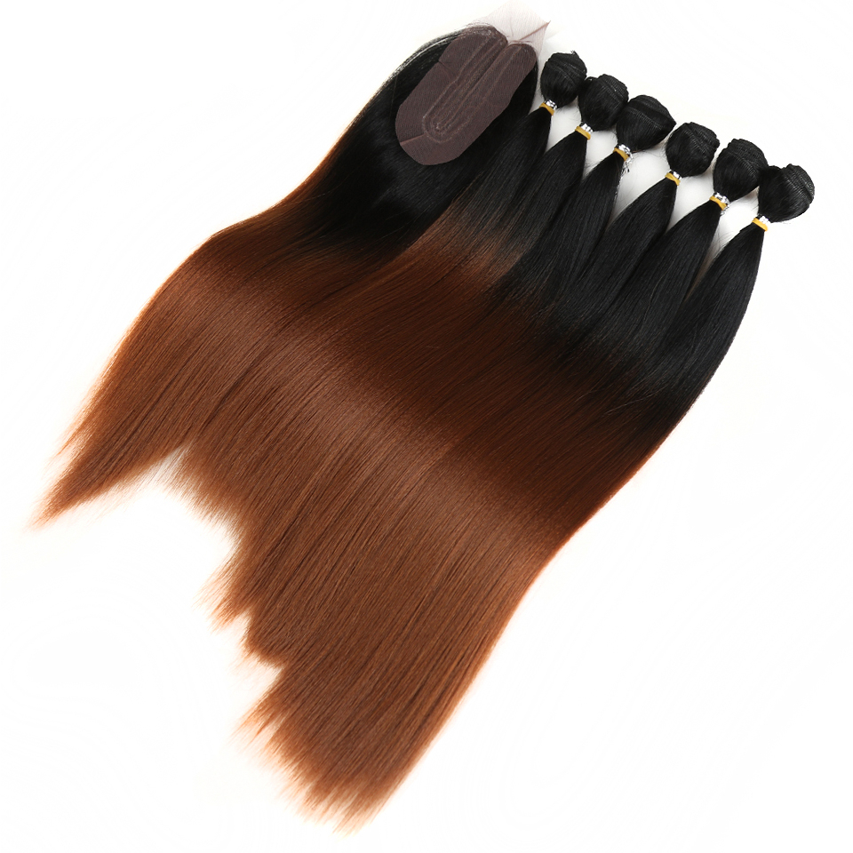 Long Straight Synthetic Hair Extensions 7 pcs Set