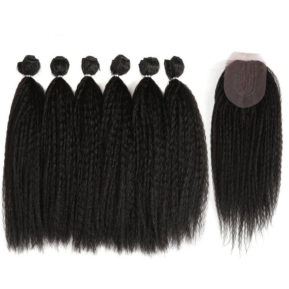 Black Kinky Straight Synthetic Hair Extensions 7 pcs Set