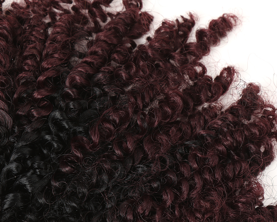 Ombre Kinky Curly Synthetic Hair Extensions 7 pcs Set